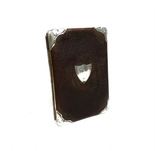 Victorian Leather And Silver Wallet / Purse / Antique Gentleman's / Brown Maroon - 223411248300